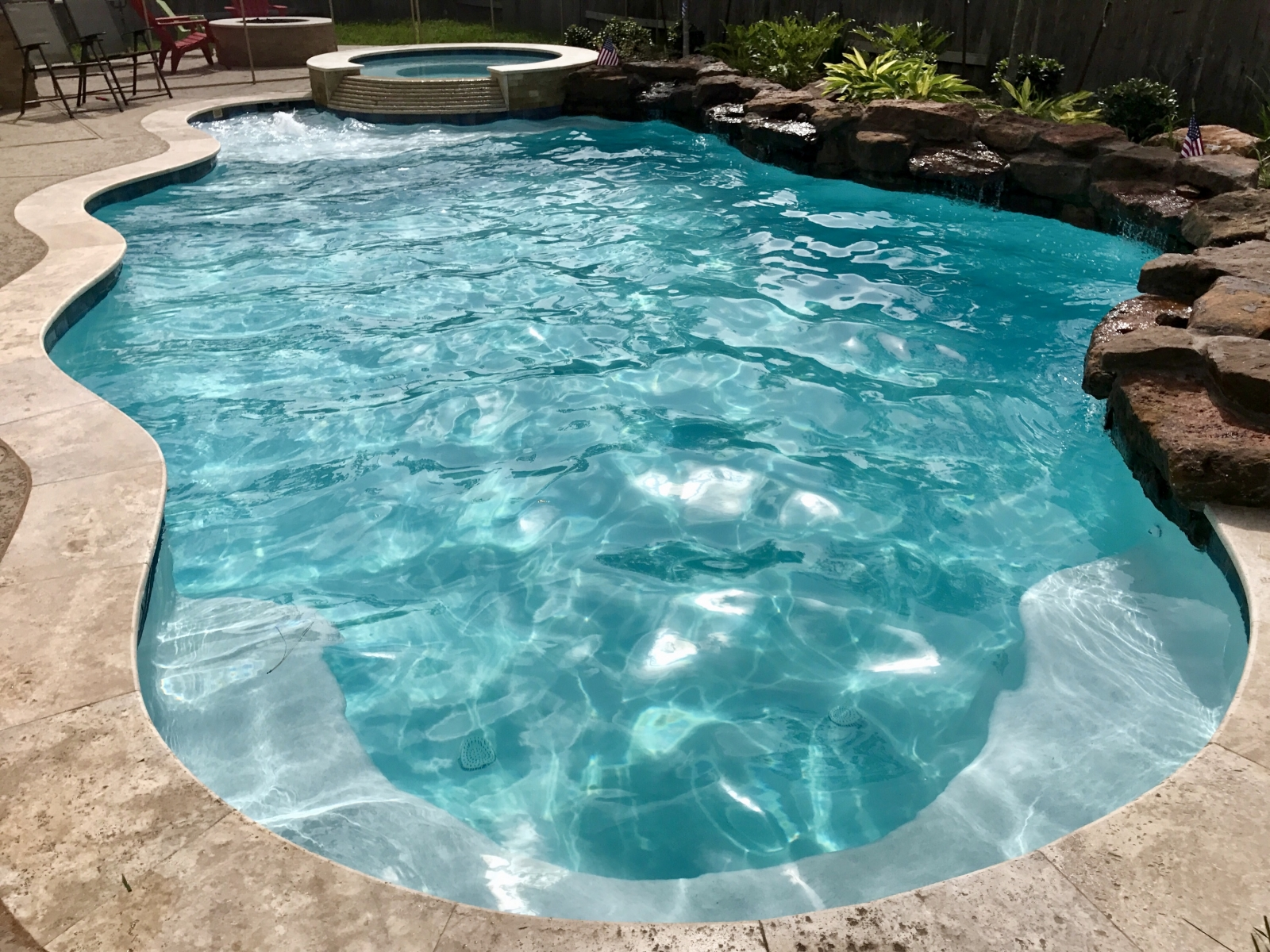 Freeform Pool With Tanning Ledge, Bubblers, & Spa