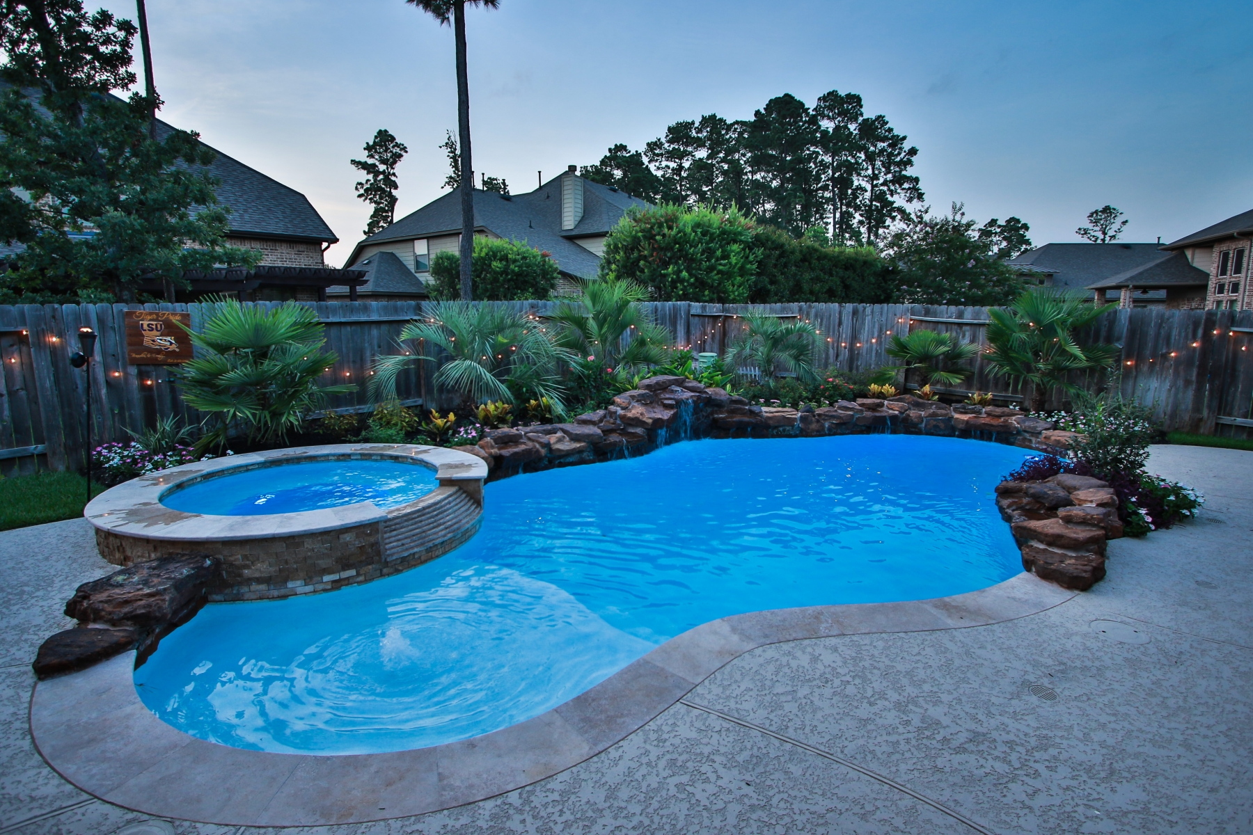Freeform Pool, Spa, Tanning Ledge & Rock Waterfall