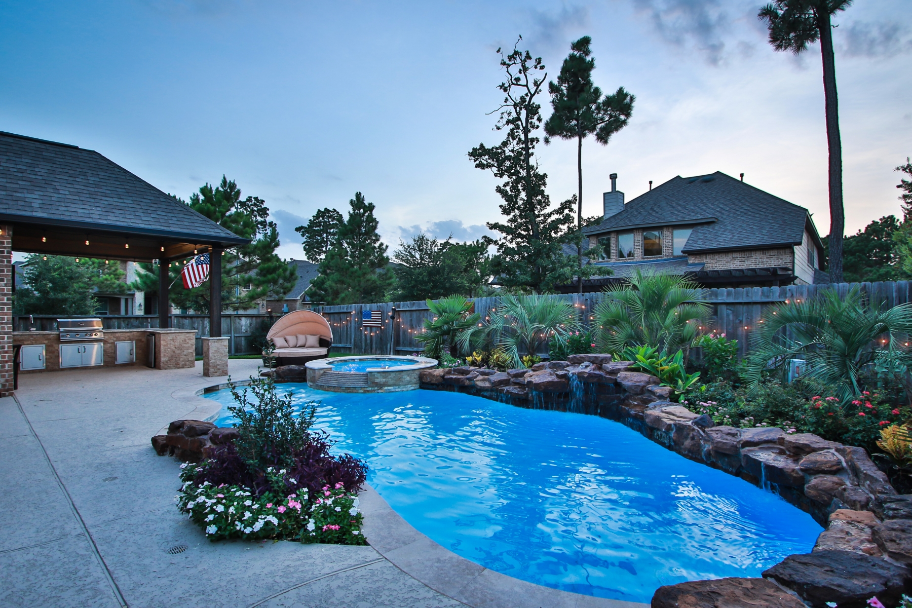 Freeform Pool with Waterfall & Spillover Spa