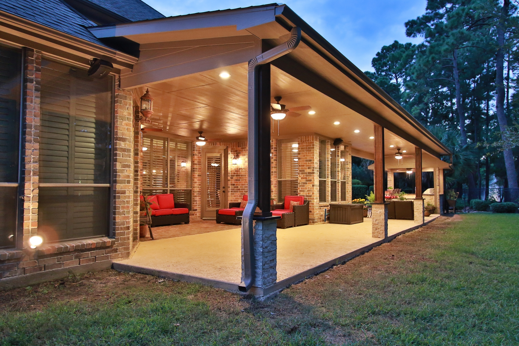 Large Covered Patio with Zoned Outdoor Living Areas