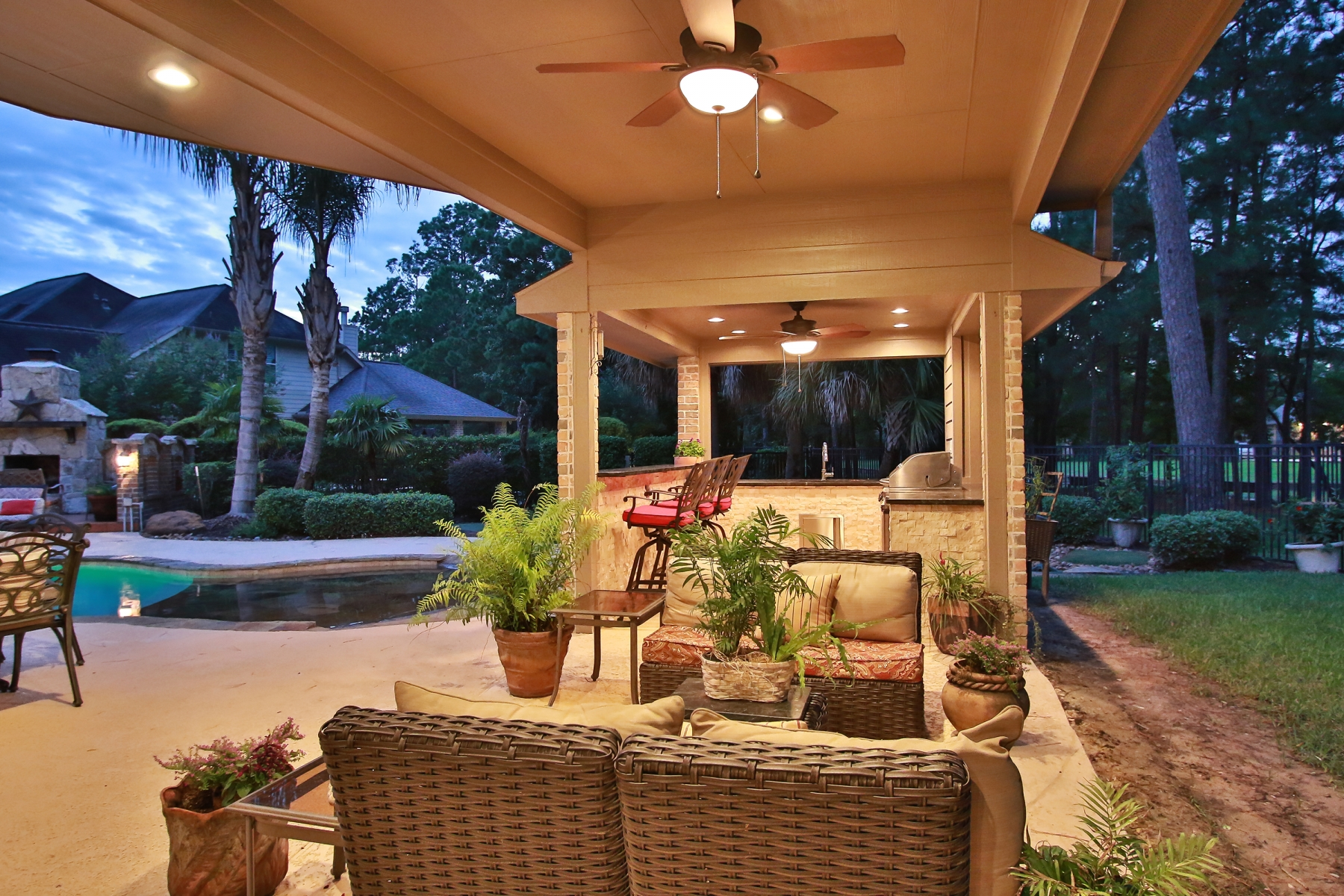 Covered Patio with Outdoor Living Areas and Outdoor Kitchen