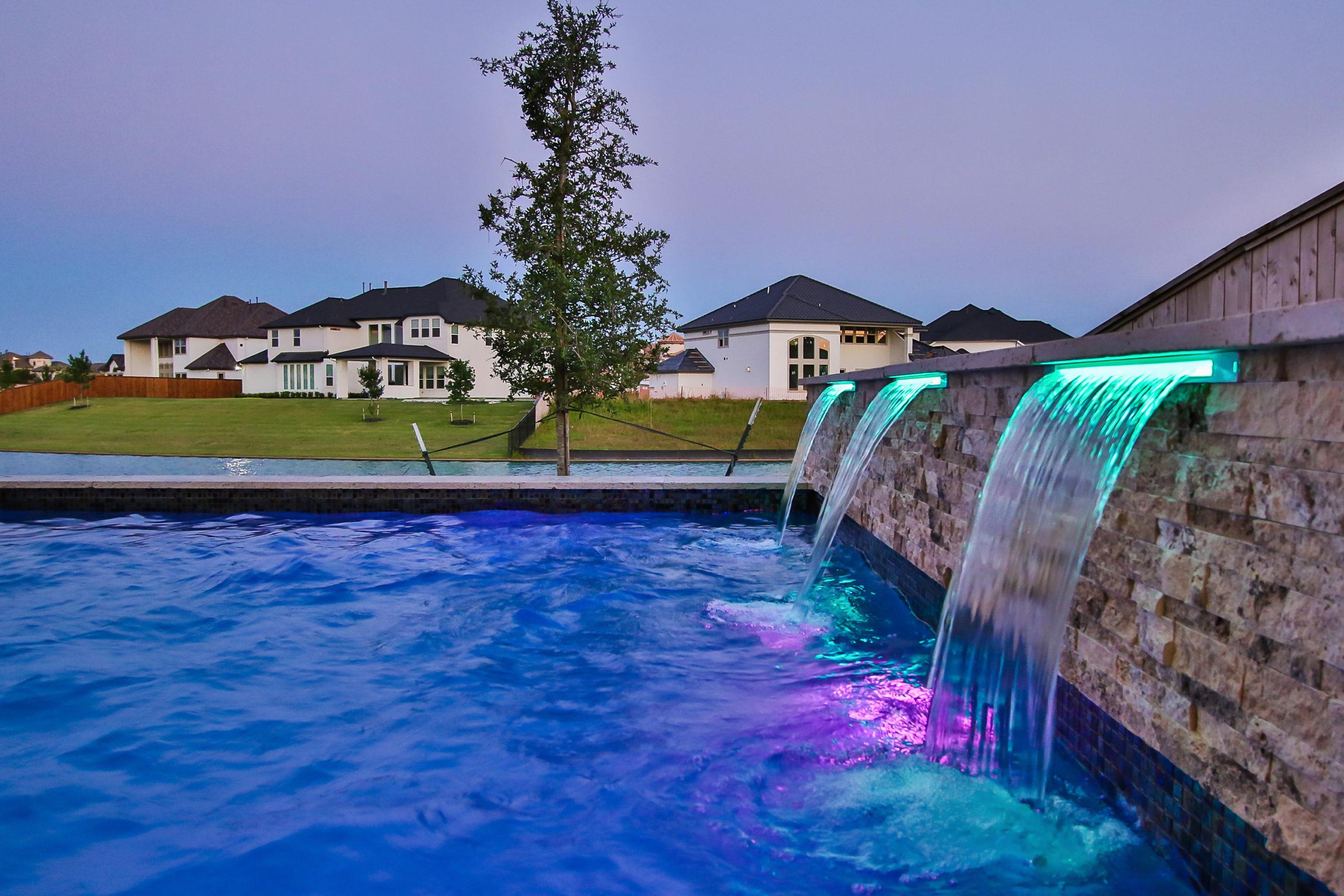 Sheer Waterfalls on Geometric Pool Design